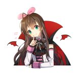 1girl a.i._channel bangs bat_wings black_cape blush brown_hair cape closed_mouth collared_shirt commentary_request detached_sleeves detached_wings eyebrows_visible_through_hair green_eyes hair_between_eyes hair_ribbon halloween head_tilt heart high_collar kizuna_ai long_hair long_sleeves mini_wings multicolored multicolored_cape multicolored_clothes multicolored_hair pink_hair pink_ribbon red_cape red_wings ribbon shirt simple_background sleeveless sleeveless_shirt sleeves_past_wrists smile solo streaked_hair tp_(kido_94) upper_body virtual_youtuber white_background white_shirt white_sleeves wings