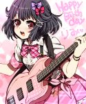 :d akasata bang_dream! bangs bass_guitar black_hair bow bowtie bracelet character_name flower hair_bow hair_flower hair_ornament hairpin happy_birthday heart holding holding_instrument instrument jewelry looking_at_viewer open_mouth pink_bow pink_neckwear pink_ribbon pink_skirt plaid_neckwear purple_bow red_eyes ribbon round_teeth shirt short_hair short_sleeves skirt smile solo suspender_skirt suspenders teeth upper_teeth ushigome_rimi white_shirt x_hair_ornament