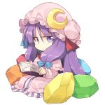 1girl :/ book chibi crescent crescent_moon_pin crystal dress hair_ribbon hat holding holding_book long_hair looking_at_viewer mob_cap patchouli_knowledge purple_dress purple_eyes purple_hair reading ribbon satou_kibi sidelocks simple_background sitting striped striped_dress touhou tress_ribbon vertical_stripes very_long_hair white_background