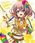 1girl :d akasata bang_dream! bangs belt blue_eyes blue_flower blue_rose blush brown_hair center_frills character_name collared_shirt drumsticks earrings flower green_ribbon hair_flower hair_ornament hair_ribbon happy_birthday heart holding holding_instrument instrument jacket jewelry looking_at_viewer multicolored multicolored_clothes multicolored_skirt musical_note open_mouth orange_ribbon pink_flower pink_ribbon pink_rose ponytail ribbon rose shirt short_sleeves sidelocks skirt smile solo wrist_ribbon yamabuki_saaya yellow_flower yellow_ribbon yellow_rose