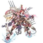 aircraft aircraft_catapult airplane anchor banner boots cannon cape chains elbow_sleeve goggles goggles_on_head head_wings holding holding_chain holding_weapon knee_pads mecha_musume north_carolina_(zhan_jian_shao_nyu) official_art pantyhose radar_dish range_finder red_eyes red_hair tagme tomahawk torn_cape torn_clothes torn_pantyhose turret weapon white_hair zhan_jian_shao_nyu
