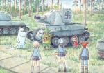 1boy 4girls aki_(girls_und_panzer) ankle_boots bangs blue_footwear blue_hat blue_jacket blue_pants blue_shirt blue_skirt blue_sky boots brown_hair carrying cloud cloudy_sky commentary_request day emblem forest girls_und_panzer grass grey_legwear grey_skirt guitar hair_tie hat holding holding_instrument instrument jacket kantele keizoku_military_uniform keizoku_school_uniform light_brown_hair little_my loafers long_hair long_sleeves looking_at_another mika_(girls_und_panzer) mikko_(girls_und_panzer) military military_uniform miniskirt moomintroll multiple_girls namesake nature omachi_(slabco) outdoors pants pants_rolled_up pants_under_skirt partial_commentary pleated_skirt raglan_sleeves red_hair school_uniform shirt shoes short_hair short_twintails skirt sky snufkin socks standing striped striped_shirt swastika track_jacket track_pants tree twintails uniform vehicle_request vertical-striped_shirt vertical_stripes