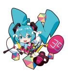 1girl 39 :d ahoge bangs bare_shoulders black_footwear black_sleeves blue_eyes blue_hair blue_skirt blush boots chibi commentary_request cube detached_sleeves fang frilled_skirt frills hair_between_eyes hair_ornament hair_ribbon hatsune_miku highres holding knee_boots long_hair long_sleeves looking_at_viewer magical_mirai_(vocaloid) megaphone open_mouth ribbon simple_background skirt smile solo sunligh_mao twintails very_long_hair vocaloid white_background white_ribbon