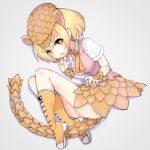 1girl blonde_hair boots eyebrows_visible_through_hair fang full_body giant_pangolin_(kemono_friends) grey_background hat highres kemono_friends knee_boots looking_at_viewer open_mouth orange_hair pangolin_ears pangolin_tail pink_shorts scales shirt short_sleeves shorts simple_background solo teranekosu white_shirt yellow_footwear yellow_neckwear