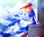 1girl apron blonde_hair blue_eyes blue_sky cloud commentary elbow_gloves english_commentary frilled_apron frilled_gloves frills full_body gloves hat hat_ribbon highres kana_anaberal long_hair maid profile puffy_short_sleeves puffy_sleeves red_footwear ribbon shoes short_sleeves sitting sky solo speckticuls touhou touhou_(pc-98) waist_apron white_gloves white_hat
