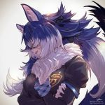 1girl animal_ears blue_hair breasts commentary_request dire_wolf_(kemono_friends) hair_over_eyes highres kemono_friends large_breasts long_hair looking_away multicolored_hair simple_background solo takami_masahiro two-tone_hair upper_body white_background white_hair wolf_ears