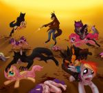 2012 applejack_(mlp) blood blue_fur canine conditional_dnp cutie_mark death derpy_hooves_(mlp) dragon earth_pony equine feathered_wings feathers female feral firing fluttershy_(mlp) friendship_is_magic fur gore group gun hair horn horse jameless lol_comments male mammal multicolored_hair my_little_pony pegasus pinkie_pie_(mlp) pony purple_fur purple_hair rainbow_dash_(mlp) ranged_weapon rarity_(mlp) scalie scootaloo_(mlp) spike_(mlp) twilight_sparkle_(mlp) two_tone_hair unicorn violence weapon were werewolf wings wounded yellow_feathers