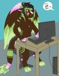 angel_dragon anthro biped chair chest_tuft clothed clothing computer desk dialogue diaper dragon english_text feces fur hair headphones male messy_diaper partially_clothed scat signature sitting soiling solo_focus text topless tuft twixxel_minty unknown_artist unknown_artist_signature wings