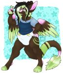 4_toes 5_fingers angel_dragon anthro biped clothed clothing diaper digitigrade dragon eyewear fully_clothed fur glasses hair horn humanoid_hands looking_at_viewer male open_mouth pawpads shirt signature source_request teeth toes tongue twixxel_minty unknown_artist unknown_artist_signature wings