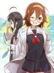 2girls ahoge black_hair black_serafuku black_skirt blue_eyes braid brown_hair commentary_request fish glasses hair_flaps hair_ornament hair_over_shoulder hair_ribbon hairband kantai_collection labcoat multiple_girls neckerchief orange_eyes orange_hairband pleated_skirt primary_stage red_glasses red_neckwear remodel_(kantai_collection) ribbon saury school_uniform serafuku shigure_(kantai_collection) shiratsuyu_(kantai_collection) short_hair single_braid skirt twitter_username