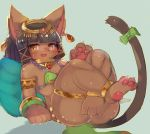 1girl bastet_(fullbokko_heroes) black_hair brown_eyes cat egyptian_clothes flat_chested fullbokko_heroes_x furry open_mouth short_hair solo