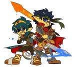 ambiguous_gender animal_humanoid armor blue_eyes blue_hair boots cape cephalopod cephalopod_humanoid clothed clothing cosplay crown duo fingerless_gloves fire_emblem footwear fully_clothed gloves hair headband holding_object holding_weapon humanoid ike_(fire_emblem) ink inkling male marine marth melee_weapon nintendo pointy_ears pose reddverse signature simple_background smile sparkles splatoon standing suction_cup sword tiara video_games weapon white_background