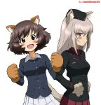 1girl :d akiyama_yukari animal_ears artist_name bangs black_hat black_jacket blue_eyes blue_jacket blush breasts brown_eyes brown_hair closed_mouth commentary dog_ears dress_shirt eyebrows_visible_through_hair fake_animal_ears frown garrison_cap girls_und_panzer gloves green_shirt grey_hair hands_on_hips hat itsumi_erika jacket kayabakoro kuromorimine_military_uniform long_hair long_sleeves looking_at_viewer medium_breasts messy_hair military military_hat military_uniform ooarai_military_uniform open_mouth paw_gloves paws pleated_skirt red_shirt red_skirt shirt short_hair simple_background skirt smile solo standing twitter_username uniform upper_body w_arms white_background white_skirt