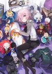1girl andrian_gilang arjuna_(fate/grand_order) artoria_pendragon_(all) bed berserker black_dress black_legwear cardigan character_doll dakimakura_(object) dress fate/grand_order fate_(series) fou_(fate/grand_order) from_above fujimaru_ritsuka_(female) hair_between_eyes highres illyasviel_von_einzbern indoors karna_(fate) long_sleeves looking_at_viewer lying mash_kyrielight miniskirt mordred_(fate) mordred_(fate)_(all) necktie no_shoes oda_nobunaga_(fate) okita_souji_(fate) okita_souji_(fate)_(all) on_side open_cardigan open_clothes pantyhose pillow pink_eyes pink_hair pleated_dress purple_eyes red_neckwear saber short_dress short_hair skirt smile solo sweater