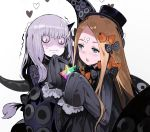 abigail_williams_(fate/grand_order) andrian_gilang bags_under_eyes bangs black_bow black_dress black_hat blonde_hair blue_eyes bow dress fate/grand_order fate_(series) forehead hat heart horn lavinia_whateley_(fate/grand_order) multiple_girls orange_bow pale_skin parted_bangs polka_dot polka_dot_bow saint_quartz sleeves_past_fingers sleeves_past_wrists sweat tentacle tentacles wavy_mouth