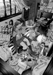 1boy 1girl ^_^ bed can cardigan cat cellphone closed_eyes condom_wrapper controller couple curtains day desk dualshock eyes_closed figure full_body game_console game_controller gamepad greyscale headphones highres holding indoors jorori long_hair long_sleeves looking_back messy_room monochrome nintendo_switch nintendo_switch_dock on_bed open_mouth original outstretched_arm pants paper phone playing_games playstation_2 room school_uniform sitting skirt sleeves_past_wrists smartphone smile socks television twintails v window |d