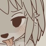 anthro bedroom_eyes black_eyes black_nose blush canine close-up drooling female fur grey_fur grey_hair hair half-closed_eyes kemono looking_at_viewer looking_pleasured mammal open_mouth s1120411 saliva seductive simple_background smile solo steam tongue tongue_out wolf