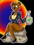 anthro bag bear black_nose bottomless breasts brown_fur cleavage clothed clothing crossgender eyewear female footwear fur gem gloves high_heels mammal money moneybags_(spyro) monocle popesslodovica shoes sitting smile solo sparkle spyro_the_dragon suit_jacket video_games
