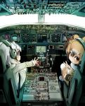 aircraft airplane alpaca_ears alpaca_suri_(kemono_friends) animal_ears bangs bird_wings blush boeing_777 brown_coat brown_hair buttons coat cockpit commentary_request cup day dial doitsuken eurasian_eagle_owl_(kemono_friends) eyelashes from_behind fur-trimmed_coat fur_collar fur_trim grey_coat grey_hair hair_over_one_eye head_wings japari_symbol kemono_friends looking_at_viewer looking_back multicolored_hair multiple_girls northern_white-faced_owl_(kemono_friends) owl_ears pantyhose parted_lips pilot plane_interior pocket reaching_out shoes short_hair sitting teacup tray uwabaki v white_hair white_legwear wings
