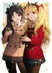 2girls alternate_costume bangs black_hair black_legwear black_ribbon blonde_hair blush cellphone coat crown ereshkigal_(fate/grand_order) fate/grand_order fate_(series) flowerchorus hair_ornament holding holding_cellphone holding_phone ishtar_(fate/grand_order) jacket long_hair long_sleeves looking_at_viewer miniskirt multiple_girls one_eye_closed open_mouth pantyhose parted_bangs phone pleated_skirt red_eyes ribbon scarf skirt smartphone smile two_side_up