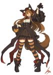 1girl :d animal_ear_fluff animal_ears ankle_boots arm_up artist_name bangs black_footwear black_gloves black_hat black_jacket black_skirt blush boots bow bowtie breasts brown_hair buckle claw_pose collared_shirt corset cropped_jacket fox_ears fox_girl fox_tail full_body fur-trimmed_gloves fur_trim gloves hair_between_eyes halloween hat high-waist_skirt highres holding jack-o'-lantern jacket lansane large_breasts legs_apart long_hair long_sleeves looking_at_viewer open_clothes open_jacket open_mouth orange_eyes original pigeon-toed pumpkin red_bow red_neckwear shirt signature simple_background skirt smile solo standing striped striped_legwear tail thighhighs tsana_(lansane) very_long_hair white_background white_shirt wide_sleeves wing_collar zettai_ryouiki