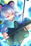 1girl animal_ears artist_name bangs black_skirt black_vest blue_capelet capelet commentary_request crystal dowsing_rod eyebrows_visible_through_hair feet_out_of_frame grey_hair holding jewelry long_sleeves mouse_ears nazrin nnyara open_mouth pendant red_eyes shirt short_hair skirt solo thighs touhou twitter_username vest white_shirt