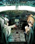 alpaca_suri_(kemono_friends) bird_wings boeing_777 brown_hair buttons coat cockpit commentary_request cup dial doitsuken eurasian_eagle_owl_(kemono_friends) fur_collar grey_hair japari_symbol kemono_friends multicolored_hair multiple_girls northern_white-faced_owl_(kemono_friends) owl_ears pantyhose short_hair sitting teacup tray v white_hair wings