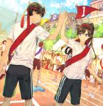 black_shorts blue_sky brown_hair cloud couple day eye_contact eyes_visible_through_hair flag floating_hair gym_uniform holding kudou_shin'ichi long_hair looking_at_another meitantei_conan mouri_ran outdoors purple_eyes red_bandana ro-a shiny shiny_hair shirt short_sleeves shorts sky smile white_shirt