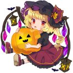 1girl :p alternate_costume bat black_shirt blonde_hair blush chibi commentary_request flandre_scarlet frilled_skirt frills hat hat_ribbon holding_pumpkin jack-o'-lantern lantern looking_at_viewer outstretched_legs puffy_short_sleeves puffy_sleeves red_eyes red_footwear red_skirt ribbon shirt short_hair short_sleeves side_ponytail simple_background sitting sketch skirt solo tamagogayu1998 tongue tongue_out touhou white_background wings