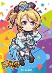1girl ayase_eli bangs birthday black_footwear blonde_hair blue_eyes boots bow bowtie breasts character_name chibi commentary_request earrings english eyebrows_visible_through_hair frills hair_bow hand_on_hip happy_birthday jewelry kira-kira_sensation! long_hair looking_at_viewer love_live! love_live!_school_idol_project medium_breasts miloku ponytail rectangle shoulder_cutout solo standing star thighhighs triangle white_legwear