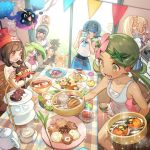 4girls alolan_form alolan_raichu baseball_cap beanie black_hair black_shirt blonde_hair blue_eyes blue_hair brown_eyes camera chair closed_mouth commentary_request cosmog cup dark_skin dark_skinned_male eating flower food food_on_face from_side gen_1_pokemon gen_2_pokemon gen_3_pokemon gen_5_pokemon gen_7_pokemon gladio_(pokemon) glass_door green_eyes green_hair hair_flower hair_ornament hairband hat hau_(pokemon) kettle lillie_(pokemon) litten long_hair malasada mao_(pokemon) mizuki_(pokemon) multiple_boys multiple_girls overalls plate pokemon pokemon_(creature) pokemon_(game) pokemon_sm ponytail popplio protected_link pyukumuku red_hat rowlet sentret shirt short_hair short_sleeves sitting sleeveless sleeveless_shirt smile spoink spoon standing steenee suiren_(pokemon) swimsuit swimsuit_under_clothes swinub table taking_picture teacup tepig trial_captain twintails white_shirt you_(pokemon) zuizi