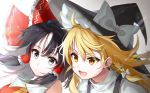 2girls :o bare_shoulders black_hair blonde_hair blurry bow braid commentary_request cravat depth_of_field eyebrows_visible_through_hair eyes_visible_through_hair hair_between_eyes hair_blowing hair_bow hair_ribbon hair_tubes hakurei_reimu hat high_collar highres kirisame_marisa kiyosato0928 leaning_forward leaning_to_the_side lens_flare long_hair looking_at_viewer looking_to_the_side medium_hair multiple_girls open_mouth red_vest ribbon shirt sidelocks silver_eyes simple_background single_braid touhou tress_ribbon upper_body vest white_background white_shirt witch_hat yellow_eyes yellow_neckwear