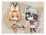 +++ 2girls :d animal_ears artist_name backpack bag bangs belt black_legwear black_stripes black_undershirt blonde_hair blue_eyes blue_hair bow bowtie brown_footwear chibi commentary_request dated elbow_gloves extra_ears gloves hat_feather helmet highres japari_symbol kaban_(kemono_friends) kemono_friends lucky_beast_(kemono_friends) multiple_girls native no_nose open_mouth outline pantyhose pith_helmet pointing red_shirt serval_(kemono_friends) serval_ears serval_print serval_tail shirt short_hair short_sleeves shorts skirt sleeveless sleeveless_shirt smile striped striped_shirt striped_shorts tail thighhighs white_backpack white_footwear white_outline white_shirt white_shorts yellow_eyes zettai_ryouiki