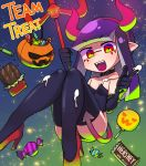 1girl :d absurdres bare_shoulders black_collar black_gloves black_legwear black_leotard candy chocolate chocolate_bar collar demon_horns demon_tail domino_mask elbow_gloves facial_mark fake_horns fangs food gloves hairband halloween halloween_costume hershey's high_heels highres holding horns inkling knees_together_feet_apart leotard lkll lollipop long_hair looking_at_viewer mask nintendo open_mouth pink_hairband polearm red_eyes red_footwear shoes smile solo splatoon splatoon_2 strapless strapless_leotard suggestive_fluid tail teeth tentacle_hair thighhighs thighs trident weapon