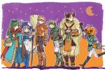 2girls 4boys armor bandage broom candy cape demon_horns dorcas_(fire_emblem) fire_emblem fire_emblem:_rekka_no_ken florina food fur fur_collar gauntlets grin halloween halloween_basket halloween_costume hat horns kent_(fire_emblem) lyndis_(fire_emblem) multiple_boys multiple_girls murabito_ba nintendo pumpkin pumpkin_hat sain smile sweets wavy_hair witch_hat