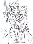 anthro canine clothing disney female fox hand_on_chest heresy_(artist) maid_marian male mammal melee_weapon robin_hood robin_hood_(disney) sketch smile sword weapon
