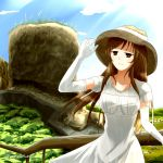 1girl adjusting_clothes adjusting_hat bangs blue_sky breasts brown_eyes brown_hair brown_hat closed_mouth cloud cloudy_sky commentary_request day dress elbow_gloves gloves half-closed_eyes hand_up hat helena_havel horizon landscape large_breasts light_smile long_hair looking_afar nature outdoors railing short_sleeves sky solo standing sun_hat sundress twitter_username ukagaka white_gloves wind wind_lift