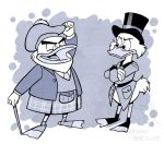 2018 4_fingers abstract_background anthro avian bird bottomless cane clothed clothing corgi_(artist) crossed_arms disney duck ducktales duo eyewear feathers fist_pump flintheart_glomgold glasses greyscale hat kilt male monochrome open_mouth open_smile pince-nez raised_arm scrooge_mcduck smile standing top_hat webbed_feet white_feathers