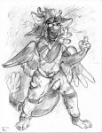 angel_dragon anthro biped clothed clothing diaper digitigrade dragon eyewear feathers fully_clothed fur glasses hair horn looking_at_viewer male pants shirt signature simple_background sketch solo source_request standing traditional_media_(artwork) twixxel_minty unknown_artist unknown_artist_signature