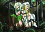 2girls absurdres arms_behind_back artist_name ass back-to-back bdsm black_bow blonde_hair blue_eyes blush bondage boots bound bow breasts breasts_outside bruise cage cave crowd crying defeated dress drooling elf eudetenis gag gagged goblin goblin_slayer! green_eyes green_hair green_skin hair_bow high_elf_archer_(goblin_slayer!) highres hostage huge_filesize humiliation injury long_sleeves looking_at_viewer monster multiple_girls nipples nose object_insertion open_clothes open_mouth peril pointy_ears priestess_(goblin_slayer!) pussy pussy_juice pussy_juice_puddle restrained rope saliva scared sharp_teeth shorts shorts_pull sideboob sidelocks sitting sleeveless small_breasts smile sweat tears teeth thigh_boots thighhighs tied_up torn_clothes torn_dress tree trembling uncensored vaginal vaginal_object_insertion