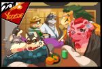 2018 anthro arsalan bear brown_fur canine chernobog clothed clothing dog drinks eyes_closed eyewear feline fur garmr glasses group hat horkeukamui humanoid_hands invalid_color lion male mammal moritaka overweight overweight_male scar straw_hat tokyo_afterschool_summoners volos wolf yazoe