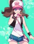 1girl aqua_background bag baseball_cap black_vest blue_eyes blue_shorts brown_hair covered_mouth cowboy_shot creatures_(company) cutoffs game_freak handbag hat holding holding_poke_ball long_hair looking_at_viewer nintendo open_clothes open_vest poke_ball poke_ball_(generic) pokemon pokemon_(game) pokemon_bw ponytail ririmon shirt short_shorts shorts sidelocks solo touko_(pokemon) vest white_hat white_shirt wide_ponytail wristband