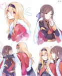 2girls ;) ? blonde_hair chi_zu_crazy commentary empty_eyes eyes_closed facing_another fur-trimmed_jacket fur_trim hair_between_eyes hairband half_updo hand_to_own_mouth heart jacket jacket_on_shoulders multiple_girls multiple_views one_eye_closed parted_lips profile saijou_claudine shoujo_kageki_revue_starlight smile sparkle tendou_maya upper_body wall_slam yuri