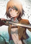 1girl aoki_(fumomo) bangs brown_hair brown_jacket collared_shirt eyebrows_visible_through_hair holding holding_sword holding_weapon jacket long_sleeves medium_hair military military_uniform open_clothes open_jacket orange_eyes paradis_military_uniform petra_ral shingeki_no_kyojin shirt solo survey_corps_(emblem) sword three-dimensional_maneuver_gear uniform upper_body v-shaped_eyebrows weapon white_shirt