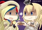 2girls artist_logo beret big_head blonde_hair blue_eyes blue_hair braid chibi commandant_teste_(kantai_collection) commentary_request crown dated dress flower french_braid gradient gradient_background hat hinata_yuu jewelry kantai_collection long_hair long_sleeves mini_crown multicolored multicolored_clothes multicolored_hair multicolored_scarf multiple_girls necklace no_sclera off-shoulder_dress off_shoulder plaid plaid_scarf pom_pom_(clothes) purple_background red_flower red_hair red_ribbon red_rose ribbon rose scallop scarf shaded_face shell staring streaked_hair tilted_headwear upper_body v-shaped_eyebrows warspite_(kantai_collection) white_dress white_hair