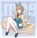 1girl animal_ear_fluff animal_ears bangs black_footwear blue_eyes blue_skirt braid cat_ears cat_tail coin_purse convenient_leg detached_sleeves fang food full_body hair_between_eyes highres japanese_clothes original paintbrush rony shoes sitting skirt tail taiyaki thighhighs wagashi white_legwear