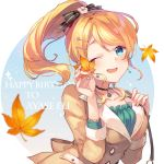 1girl ;d ayase_eli bangs black_bow black_choker blonde_hair blue_eyes blush bow breasts brown_jacket character_name choker collarbone commentary_request dress eyebrows_visible_through_hair fingernails flower frilled_dress frills green_dress hair_bow hair_flower hair_ornament hand_on_own_chest hands_up happy_birthday head_tilt high_ponytail holding holding_leaf jacket leaf long_hair love_live! love_live!_school_idol_project medium_breasts one_eye_closed open_mouth ponytail revision shinia smile solo striped striped_bow upper_body white_flower