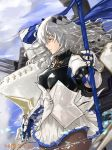 1girl armor azur_lane bangs blue_sky breastplate breasts brown_legwear cannon closed_mouth cloud commentary_request corset dated fleur_de_lis floating_hair from_side gauntlets gloves grey_hair hair_between_eyes hair_ornament highres holding holding_polearm holding_weapon kdm_(ke_dama) large_breasts long_hair looking_afar machinery miniskirt mole mole_under_eye outdoors pantyhose pleated_skirt polearm red_eyes rigging saint-louis_(azur_lane) sidelocks signature skirt sky solo turret weapon white_skirt wind