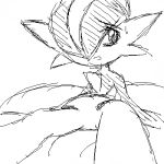 ambiguous_gender black_and_white digital_media_(artwork) gallade humanoid looking_at_viewer monochrome nintendo oekaki open_mouth pasaran pokémon pokémon_(species) simple_background solo sweat video_games white_background