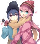 :d bangs beanie black_gloves black_hat blue_eyes blue_hair blue_jacket blush brown_eyes brown_gloves brown_scarf closed_mouth commentary_request eyebrows_visible_through_hair fingerless_gloves fringe fringe_trim gloves hair_between_eyes hat head_tilt jacket kagamihara_nadeshiko kyuukon_(qkonsan) long_sleeves multiple_girls open_mouth pink_hair red_hat red_jacket scarf shared_scarf shima_rin simple_background smile sweat white_background yurucamp